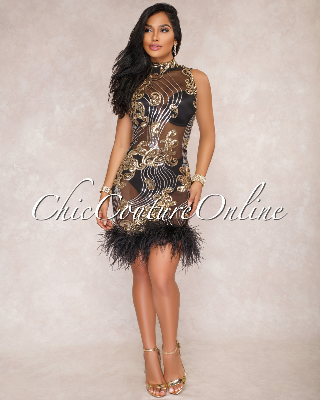Fashion style With Dresses feathers for lady