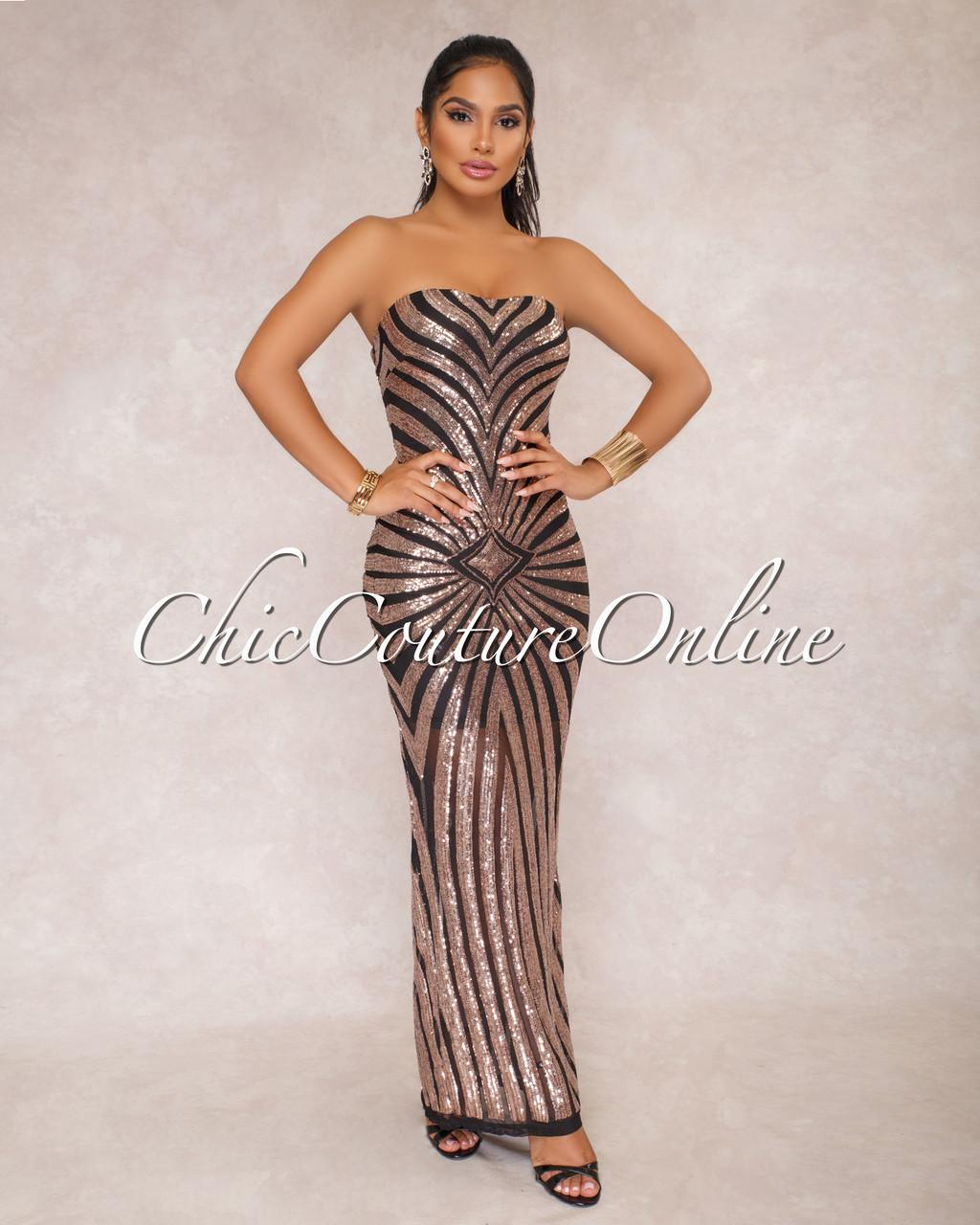 Mayer Black Rose Gold Sequin Strapless Padded Dress