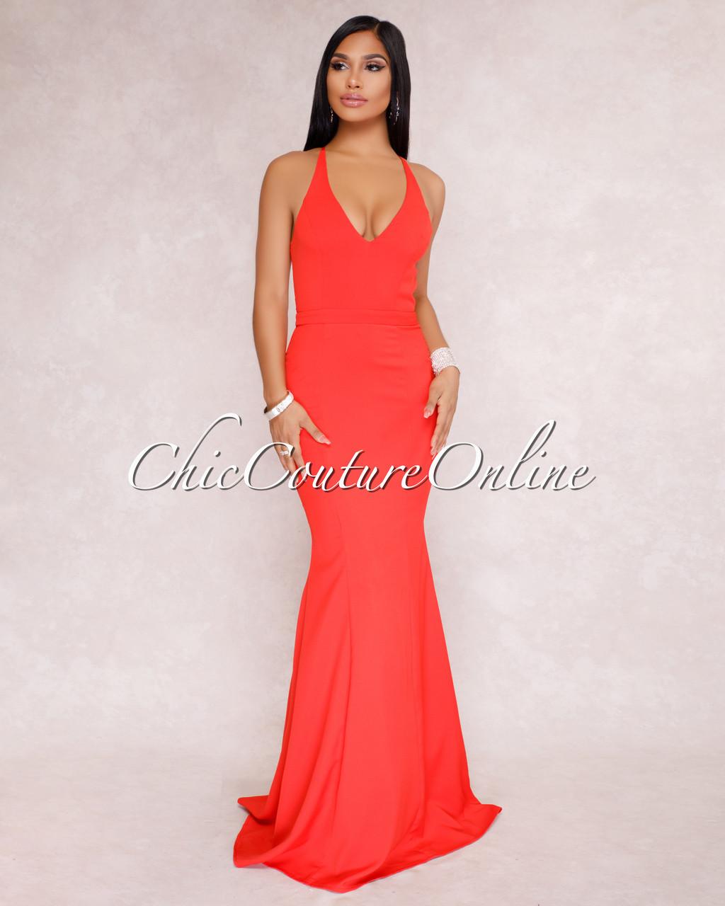 c2d4622c271f Venus Coral Red Lace Back Maxi Dress