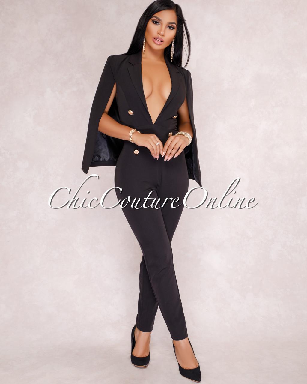 19ccf98c3d7 Rilla Black Cape Tuxedo Jumpsuit. Price   80.00. Image 1