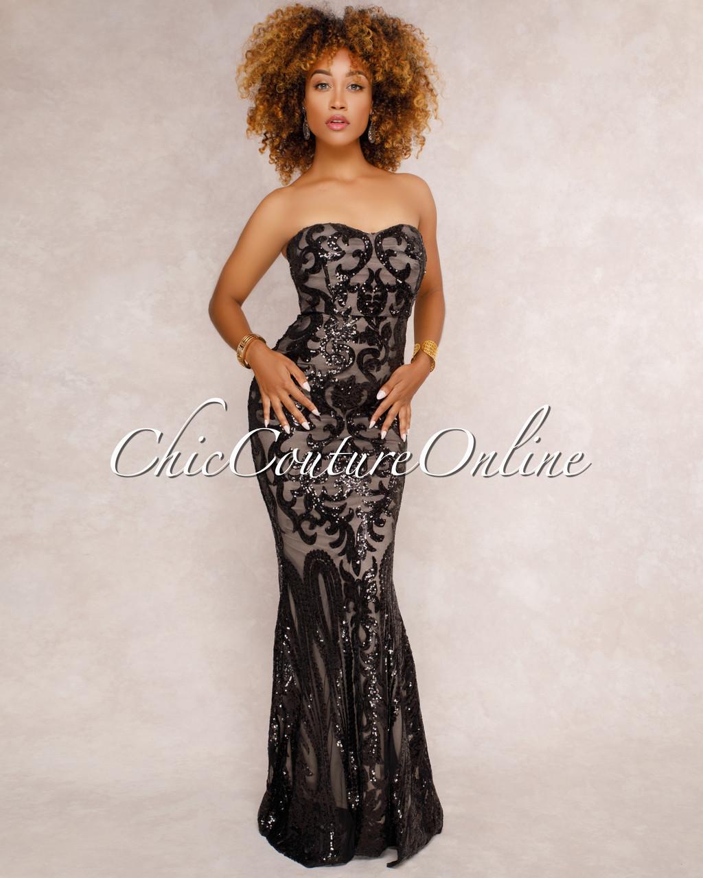 Samora Black Sequin Embellished