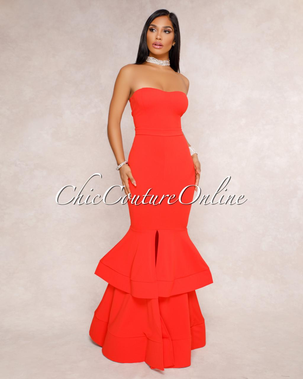 Marta Red Strapless Tier Padded Maxi Dress