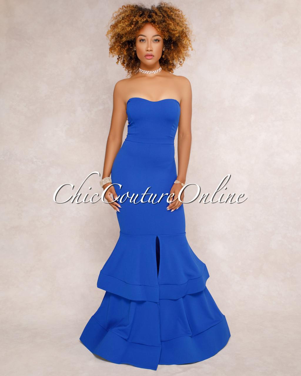 Marta Blue Strapless Tier Padded Maxi Dress