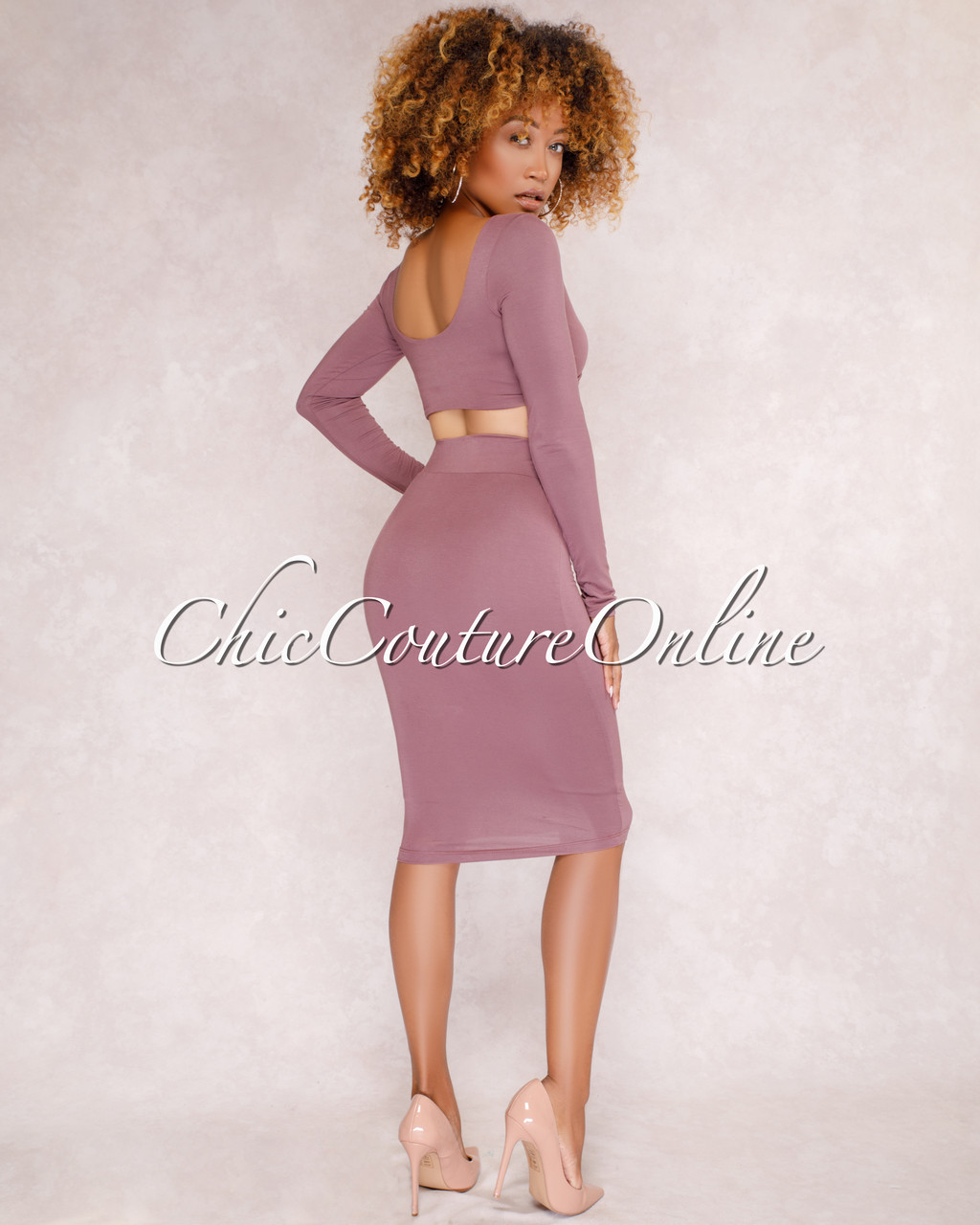 bc2323826134e Kaitlyn Mauve Crop Top   Skirt Two Piece Set. Your Price   35.00 (You save   15.00). Image 1. Larger   More Photos