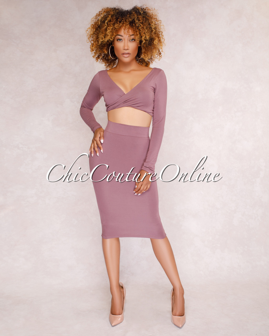 1104fe7ee2e98 Kaitlyn Mauve Crop Top   Skirt Two Piece Set. Your Price   35.00 (You save   15.00). Image 1