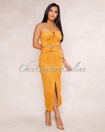 Irma Mustard Faux Suede Crop Top & Skirt Two Piece Set