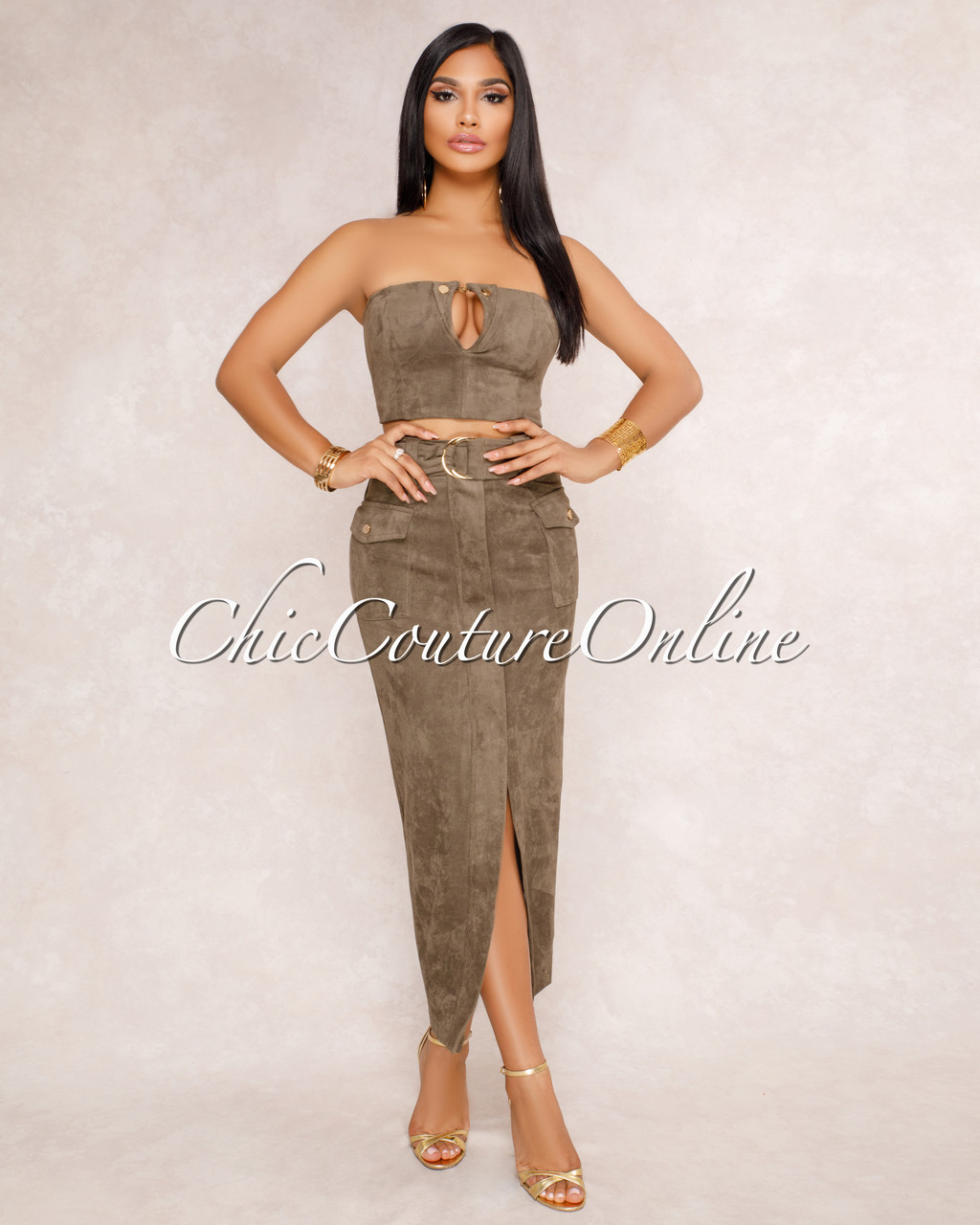 170c9df1b0597 Irma Olive Green Faux Suede Crop Top   Skirt Two Piece Set