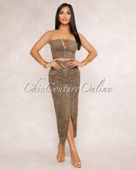 Irma Olive Green Faux Suede Crop Top & Skirt Two Piece Set