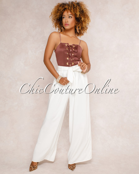 Stassy Ivory High Waisted Wide Legs Pants