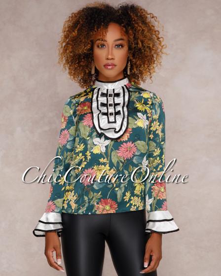 Marva Multi-Color Floral Print Long Sleeves Top