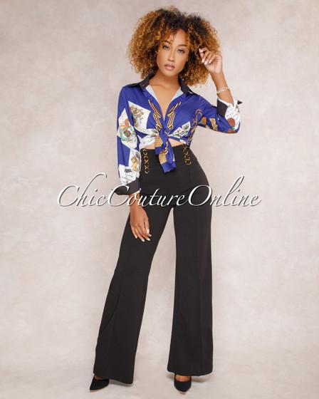 Alessa Black Wide Legs Pants w/ Gold Details