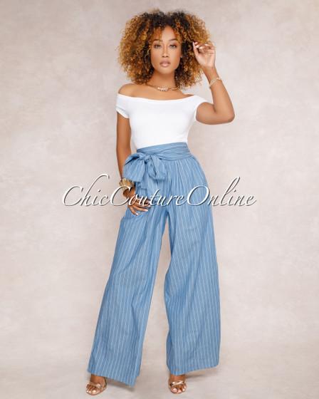 Saria Blue Denim Striped Paper Bag Pants