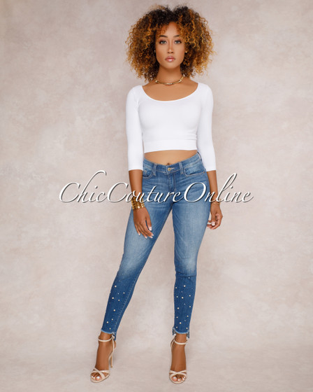 Chiara Blue Pearl Embellished Denim Jeans