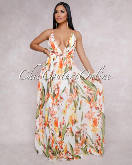 Laisha Off-White Floral Halter Neck Maxi Dress
