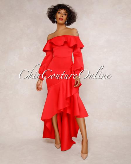 Belair Red Off-The-Shoulder Ruffle Maxi Dress