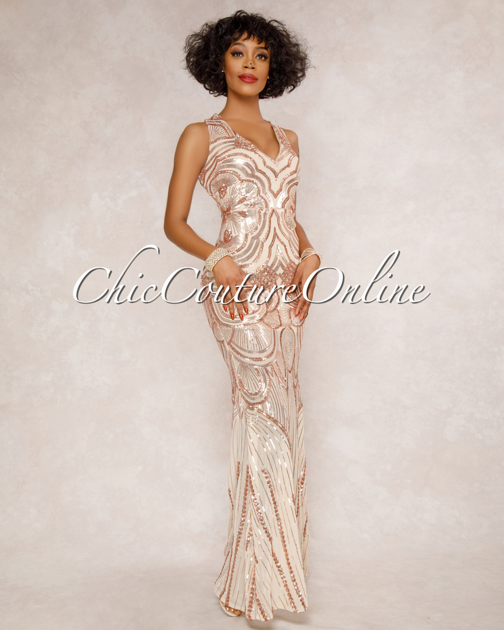 Toxic Nude Mesh Rose Gold Sequins Gown