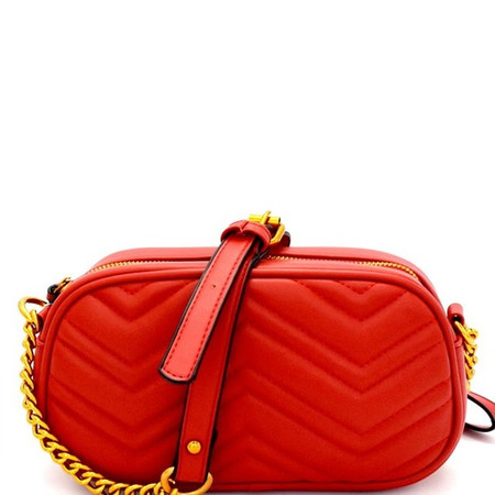 Farina Red Chevron Crossbody Bag