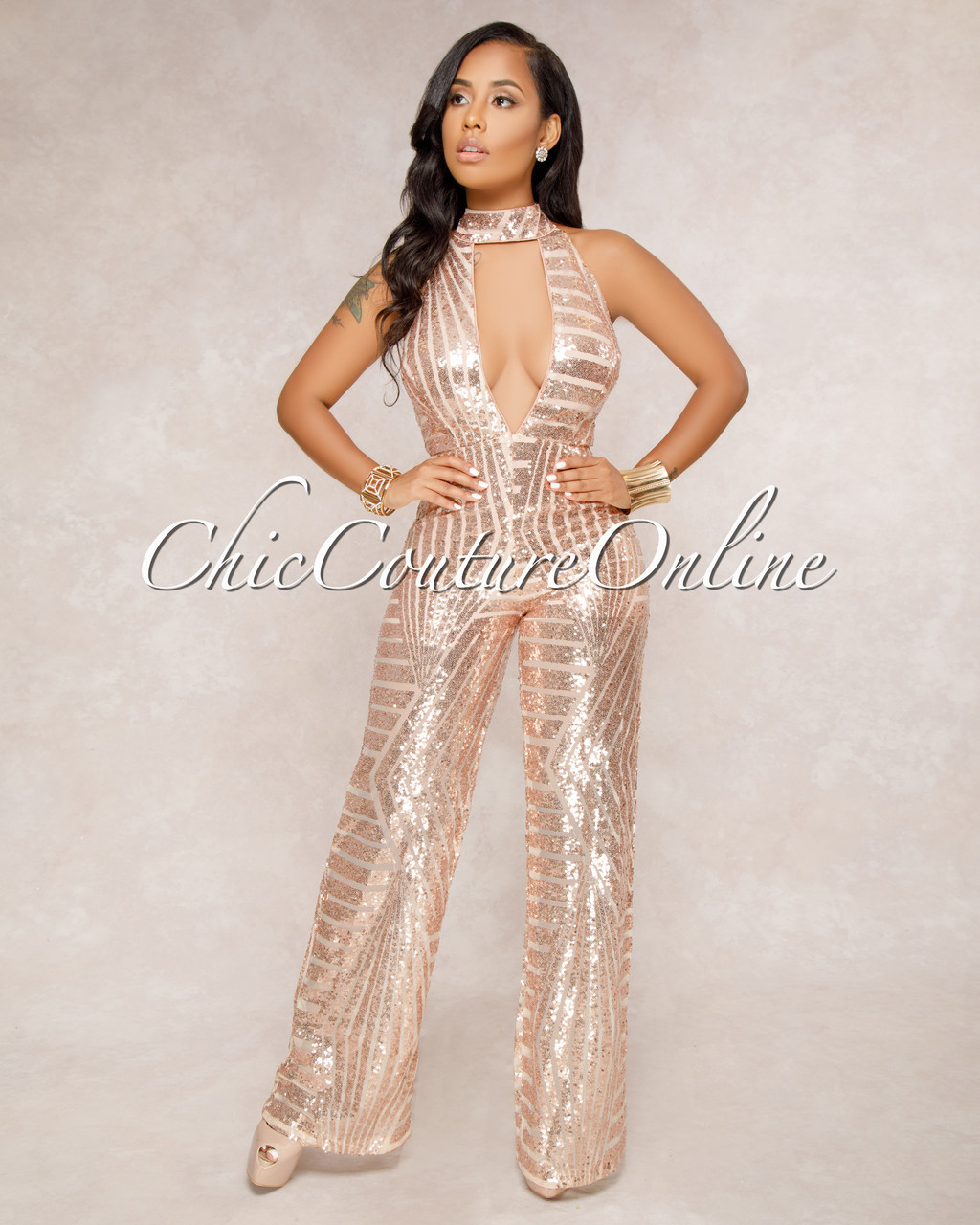 detailed pictures shopping amazing selection Playoff Rose Gold Sequins Nude Illusion Halter Jumpsuit