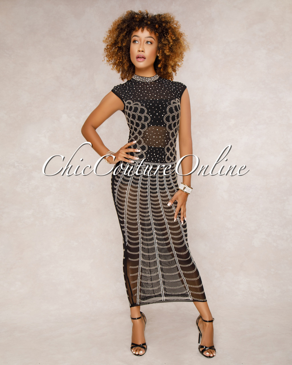 6f7b90f20e5 Showtime Black Studded Midi Dress