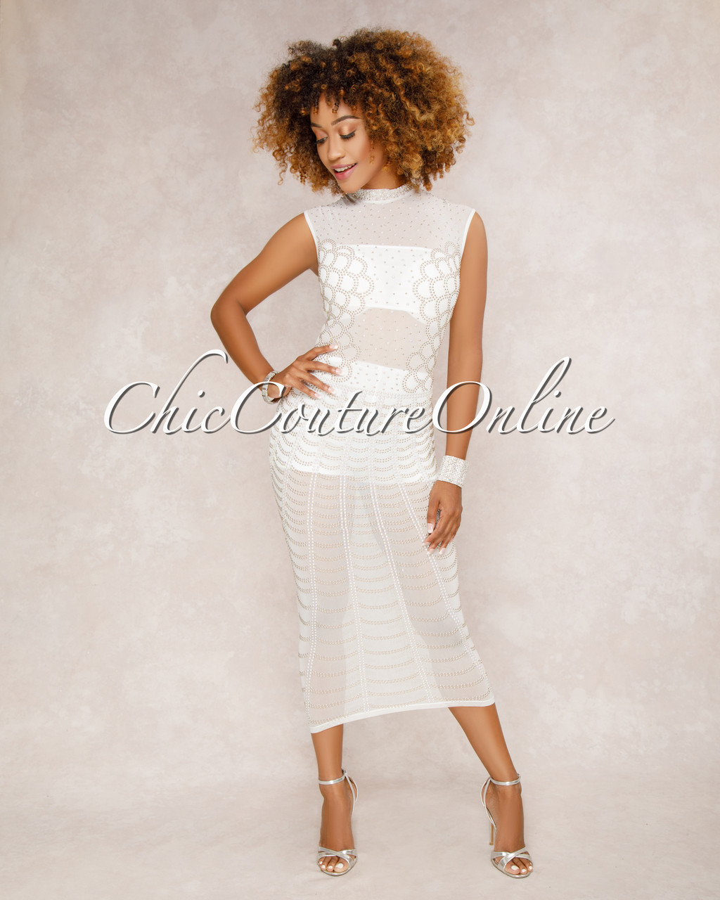 76ec472fe7e Showtime White Studded Midi Dress
