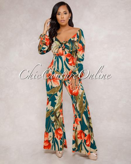 Isabella Floral Front Tie Jumpsuit
