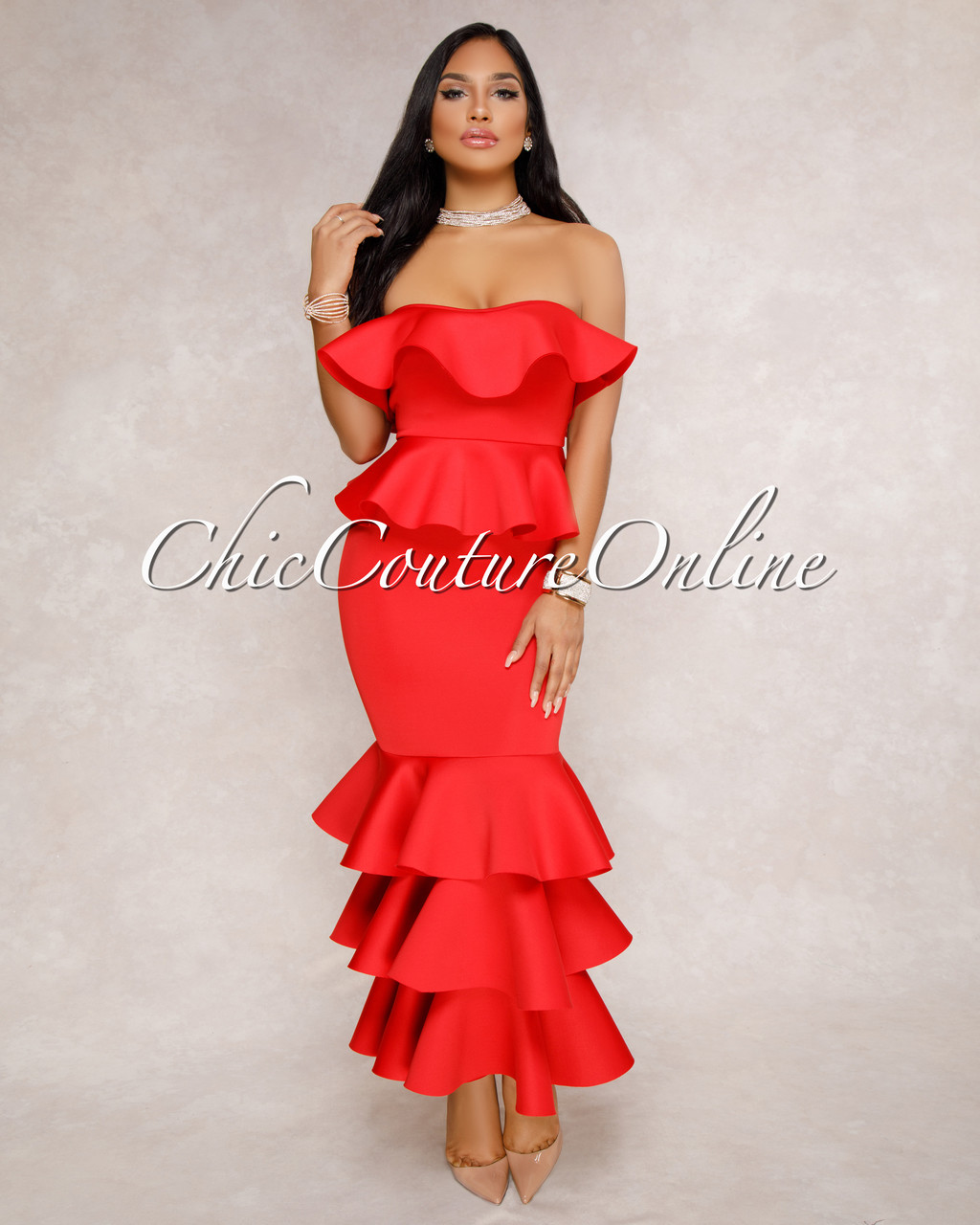 be48ea2c730 Christy Red Strapless Ruffle Maxi Dress. Price   115.00. Image 1