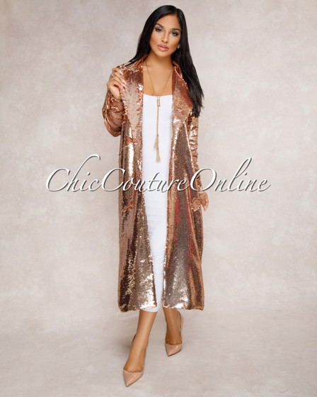 Mattie Rose Gold Sequin Trench Coat