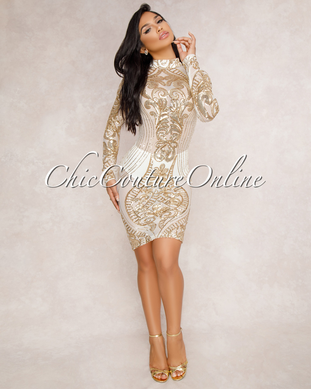 70261ad8aec5 Krystal Gold Sequin Semi-Sheer Dress. Price: $75.00. Image 1