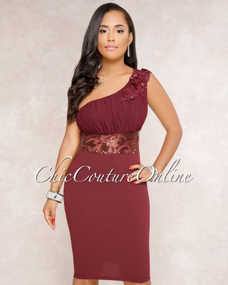 Yanah Burgundy One Shoulder Embroidered Dress