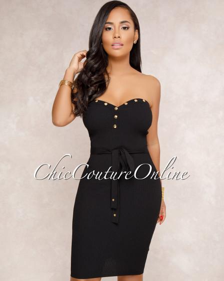 Sarra Black Ribbed Strapless Dress