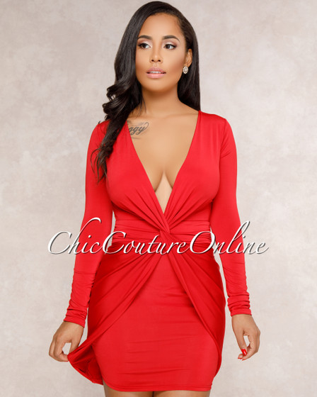 Sidonie Red Front Knot Body-Con Dress