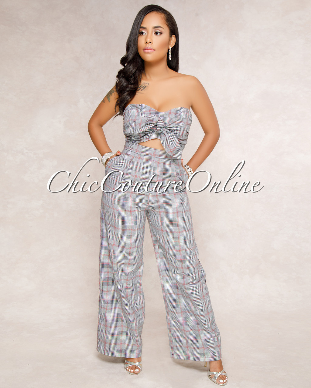 4b7b80d2e31 Arlo Grey Red Plaid Front Tie Jumpsuit. Price   60.00. Image 1