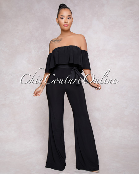 Cruz Black Ruffle Off The Shoulder Jumpsuit