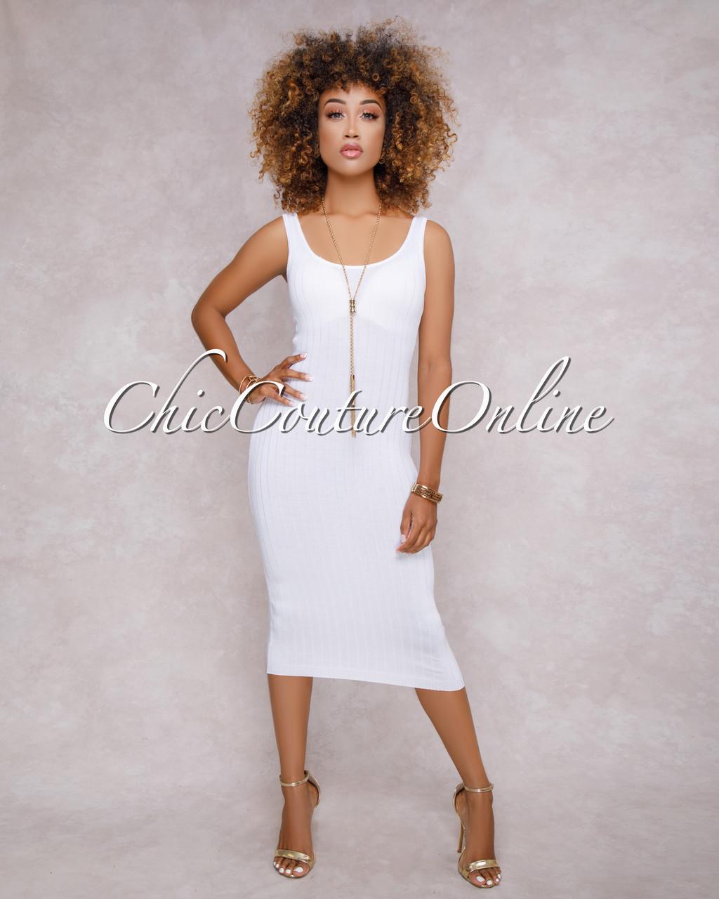 6137e2fc2a9 Teyana Off White Tank Midi Dress. Price   40.00. Image 1