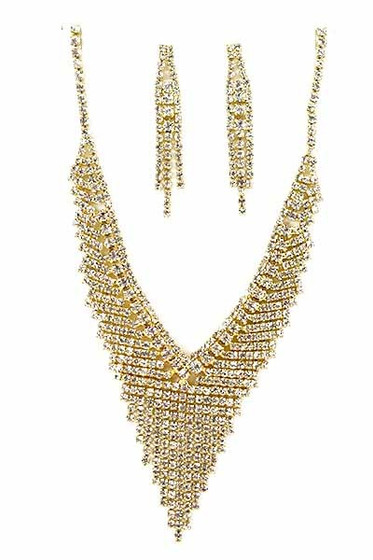 Cooper Golden Fringe Bib Earrings & Necklace Set