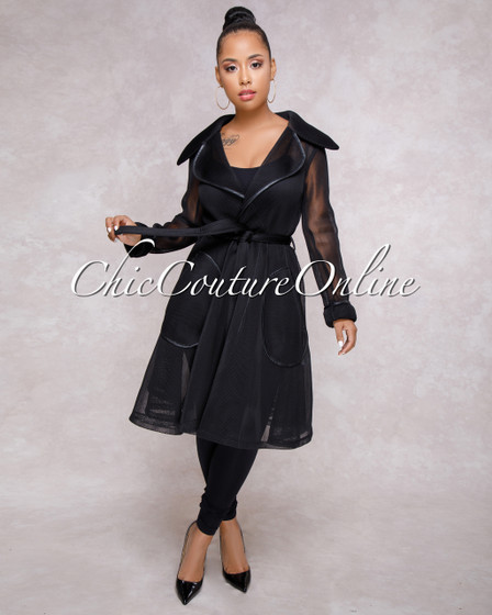 Tahiya Black Mesh Trench Jacket