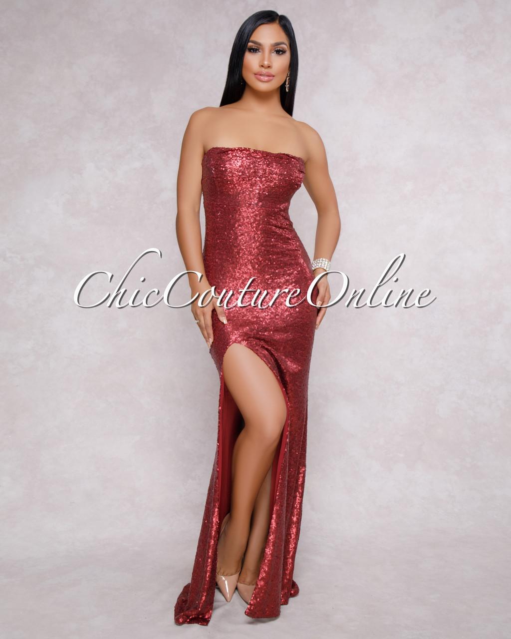 9a4bd9d9 Urbana Wine Red Sequins Strapless Maxi Dress