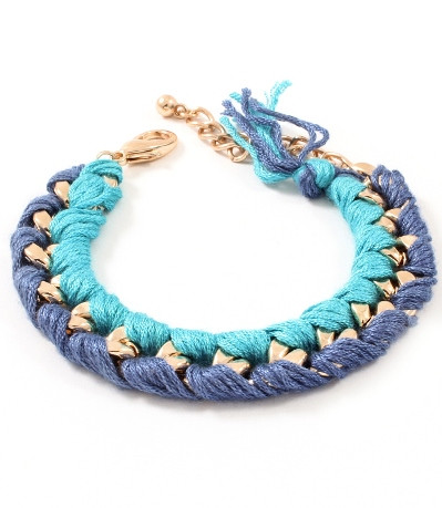 Blue and Navy Woven Chain Link Bracelet