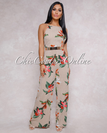 Kade Brown Stripes Floral Open Back Jumpsuit