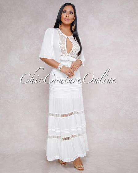 Magalie Off White Cut Out Crochet Design Maxi Dress
