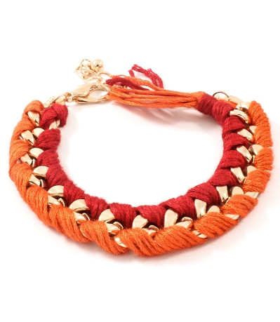 Red and Orange Woven Chain Link Bracelet