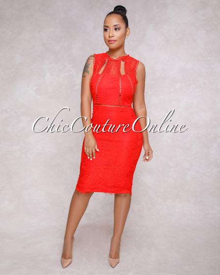 Alayna Red Lace Overlay Cut Out Dress