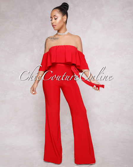 Cruz Red Ruffle Off-The-Shoulder Jumpsuit