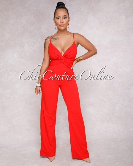 Evangeline Red Knot Front Jumpsuit