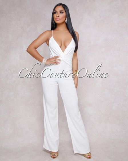Evangeline Off White Knot Front Jumpsuit