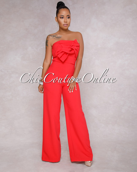 Brinley Strapless Red Knot Front Jumpsuit