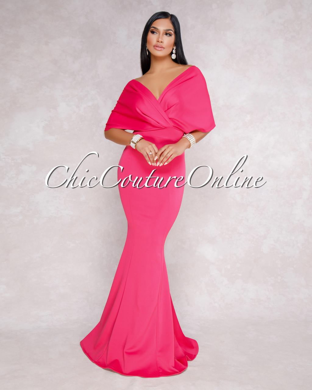 8937074f463 Flore Fuchsia Off The Shoulder Mermaid Maxi Dress. Price   75.00. Image 1