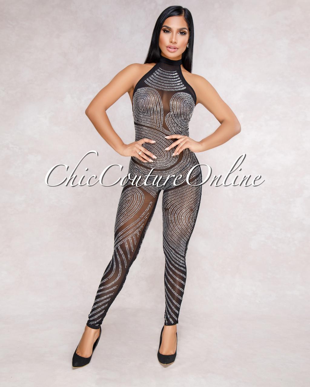 cfd869aea0e Estrella Black Rhinestones Embellished Sheer Halter Jumpsuit. Price    75.00. Image 1