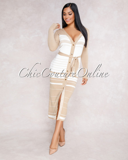 Samantha Nude White Stripes Buttoned Front Knit Dress
