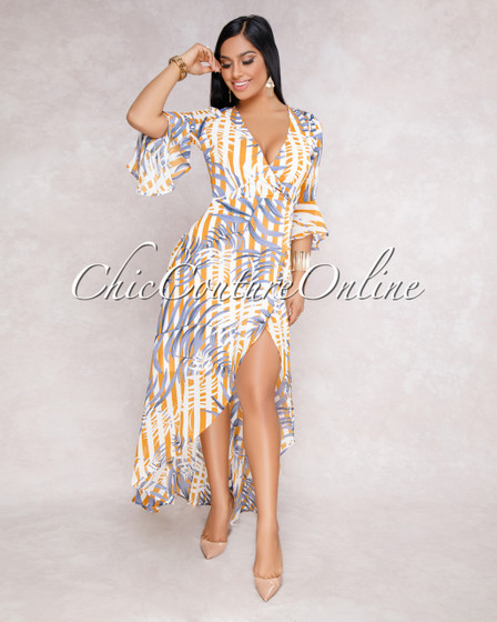 Esther Mustard Blue Floral Ruffle Wrap Maxi Dress